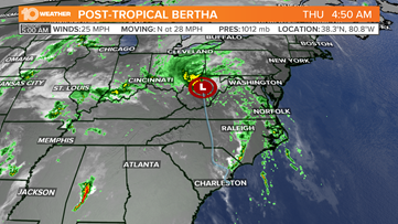 Bertha becomes post-tropical cyclone