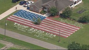 Giant American flag, 'Trump  2020' painted on Florida lawn