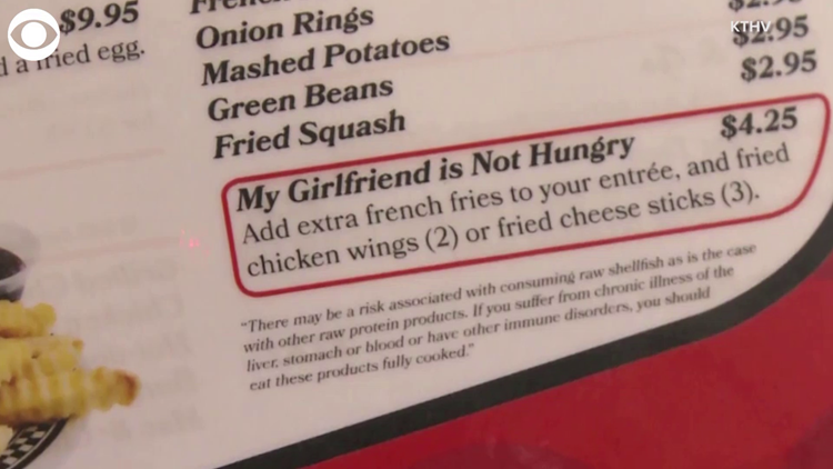 'My girlfriend is not hungry' menu option offered at diner
