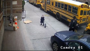 Video shows man driving on sidewalk as students enter school