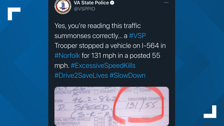 131 mph in a 55 mph zone: Virginia State Police start posting parts of reckless speeding tickets