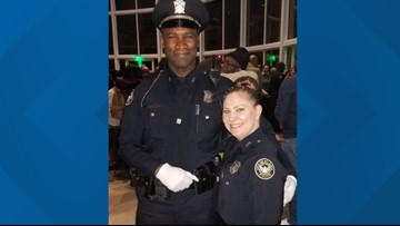 Atlanta police recruit graduates, joins wife on police force