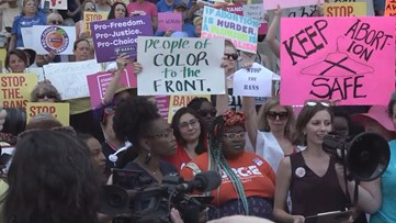 Demonstrators protest 'heartbeat' abortion law at Georgia State Capitol