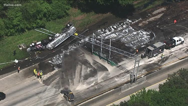 7,500 gallons of diesel spills on I-285 SB near Ponce de Leon in DeKalb, driver injured