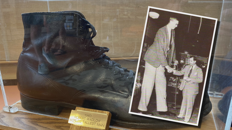 Size 37 shoe of world's tallest person on display at Michigan store